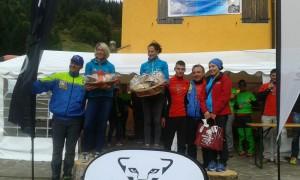 SkyRace Monte Dimon - Podio femminile con al centro la vincitrice Anna Finizio